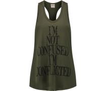 Printed Modal-jersey Tank Armeegrün