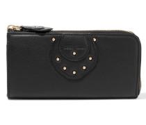 Janis Studded Textured-leather Wallet Schwarz