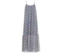 Gerafftes Slip Dress in Maxilänge aus Crêpe mit Floralem Print
