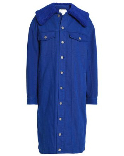 Faux Shearling-trimmed Denim Coat Bright Blue