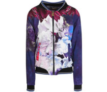 Printed crepe de chine bomber jacket