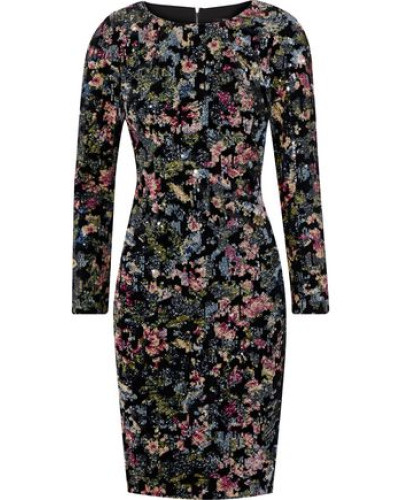 Sequin-embellished Velvet Dress Black