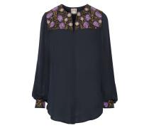 Embroidered Silk Blouse Mitternachtsblau