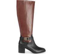 Bryce Two-tone Leather Knee Boots Schokoladenbraun