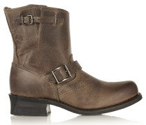 Engineer Distressed-leather Biker Boots Dark brown