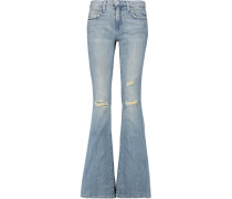 The Low Bell Distressed Low-rise Flared Jeans Heller Denim