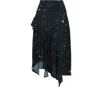 Electra Asymmetric Floral-print Crepe De Chine Skirt
