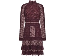Tiered Embroidered Tulle Mini Dress