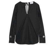 Button-embellished Cotton-poplin Blouse