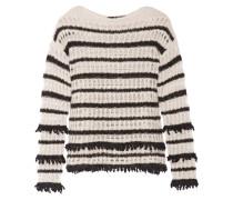 Dana Striped Open-knit Sweater Neutral