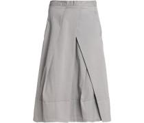 Pleated stretch-cotton poplin midi skirt