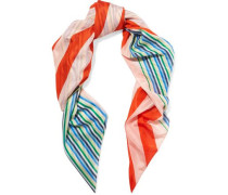 Printed cotton and silk-blend voile scarf