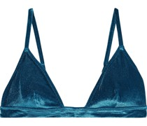 The Morgan Stretch-velvet Triangle Bikini Top