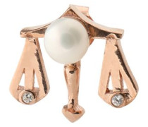 Libra rose gold-plated, faux pearl and cubic zirconia earring