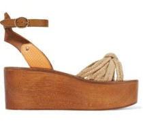 Zia paneled woven, textured and snake-effect leather wedge sandals