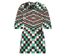 Embellished Checked Stretch-scuba Mini Dress