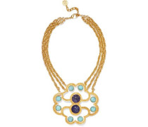 Gold-tone and stone necklace
