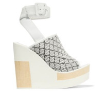 Javiera leather and woven canvas wedges