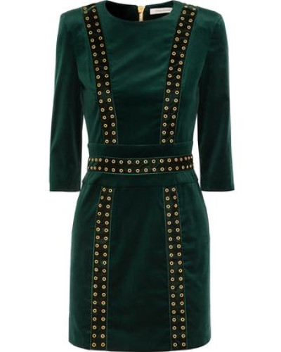 Eyelet-embellished Stretch-cotton Velvet Mini Dress Dark Green