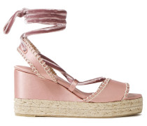 Velvet-trimmed Satin Wedge Espadrille Sandals