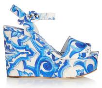 Printed Faille Wedge Sandals Blau