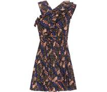 Flared Ruffled Printed Cotton-blend Mini Dress