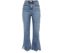 Distressed High-rise Kick-flare Jeans
