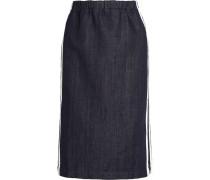 Striped Denim Pencil Skirt Dunkler Denim