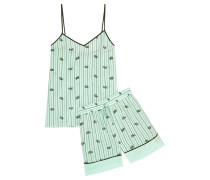 Printed Silk Crepe De Chine Camisole And Shorts Set Mint