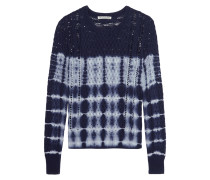 Tie-dye Open-knit Cotton Sweater Navy