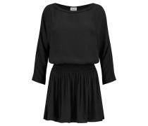 Smocked Crepe Mini Dress Schwarz