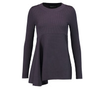 Ruffled Ribbed Silk-blend Sweater Brombeere