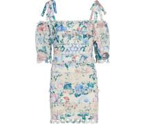 Verity Dot Minikleid aus Leinen mit Floralem Print und Schulter-cut-outs