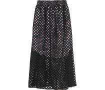 Perforated Cotton Midi Skirt Schwarz