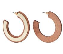 -plated Wood Hoop Earrings