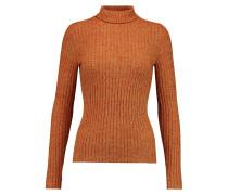 Metallic Ribbed-knit Sweater Senfgelb