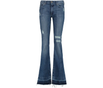 Charlize Distressed Mid-rise Bootcut Jeans Mittelblauer Denim