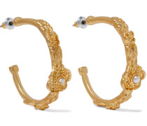22-karat -plated Faux Pearl Hoop Earrings