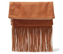 Maison Fold-over Fringed Textured-leather Clutch Braun