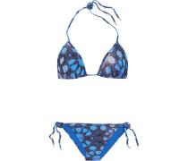 Printed Triangle Bikini Blau