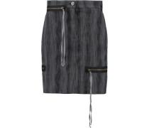 Zip-embellished cotton-blend jacquard mini skirt