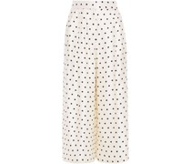 Cropped Polka-dot Silk-twill Wide-leg Pants