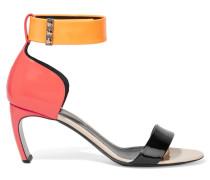 Maeva Color-block Patent-leather Sandals Korall