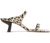 Paola Leopard-print Patent-leather Mules