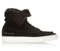 Faux Shearling-lined Suede Ankle Boots Schwarz