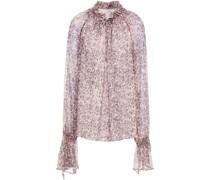 Geraffte Bluse aus Seidenkrepon mit Floralem Print