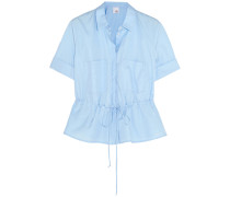 Gathered Cotton-poplin Shirt Himmelblau