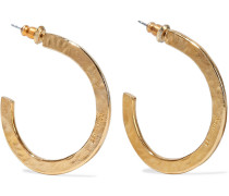 Hammered 24-karat -plated Hoop Earrings