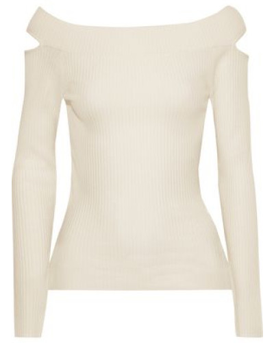 Cutout Ribbed Wool-blend Top Ivory