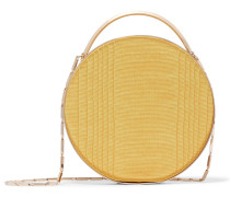 Woman Gold-tone And Grosgrain Clutch Mustard